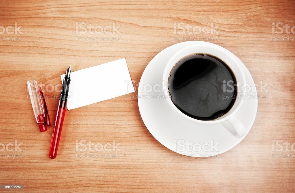 blank card with pencil on coffee cup royalty-free stock photo
