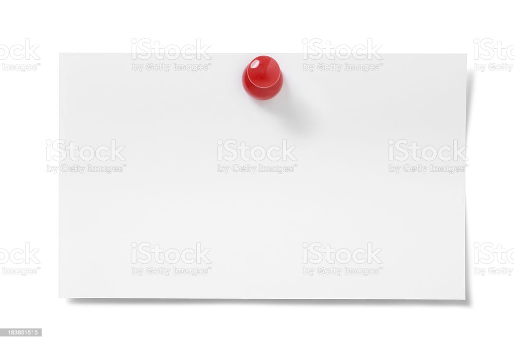 Blank card with push pin royalty-free stock photo