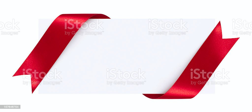 Blank card with red ribbon on a white background stock photo