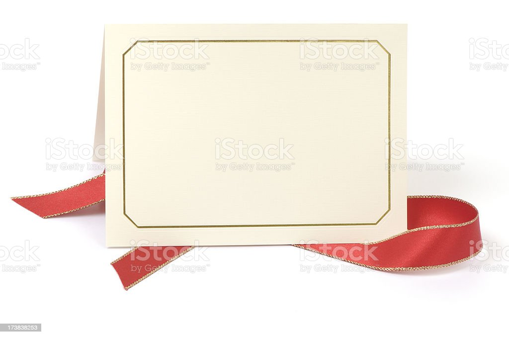Blank card with red ribbon stock photo