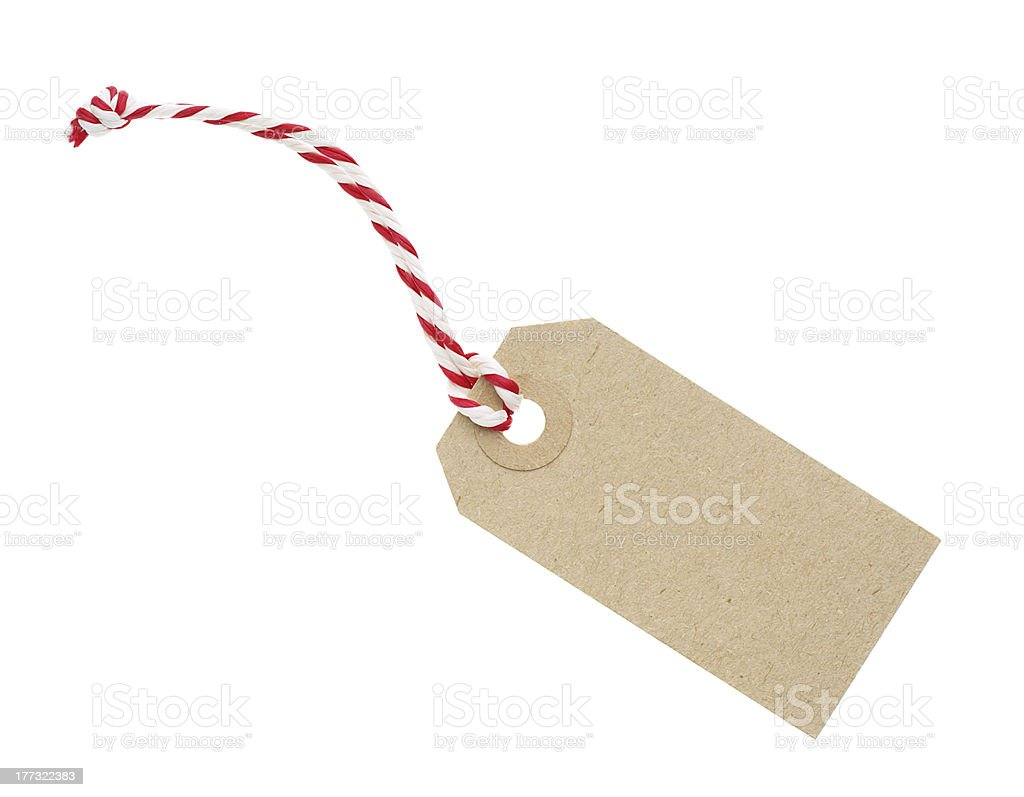 Blank Cardboard Tag Label with Red and White String stock photo