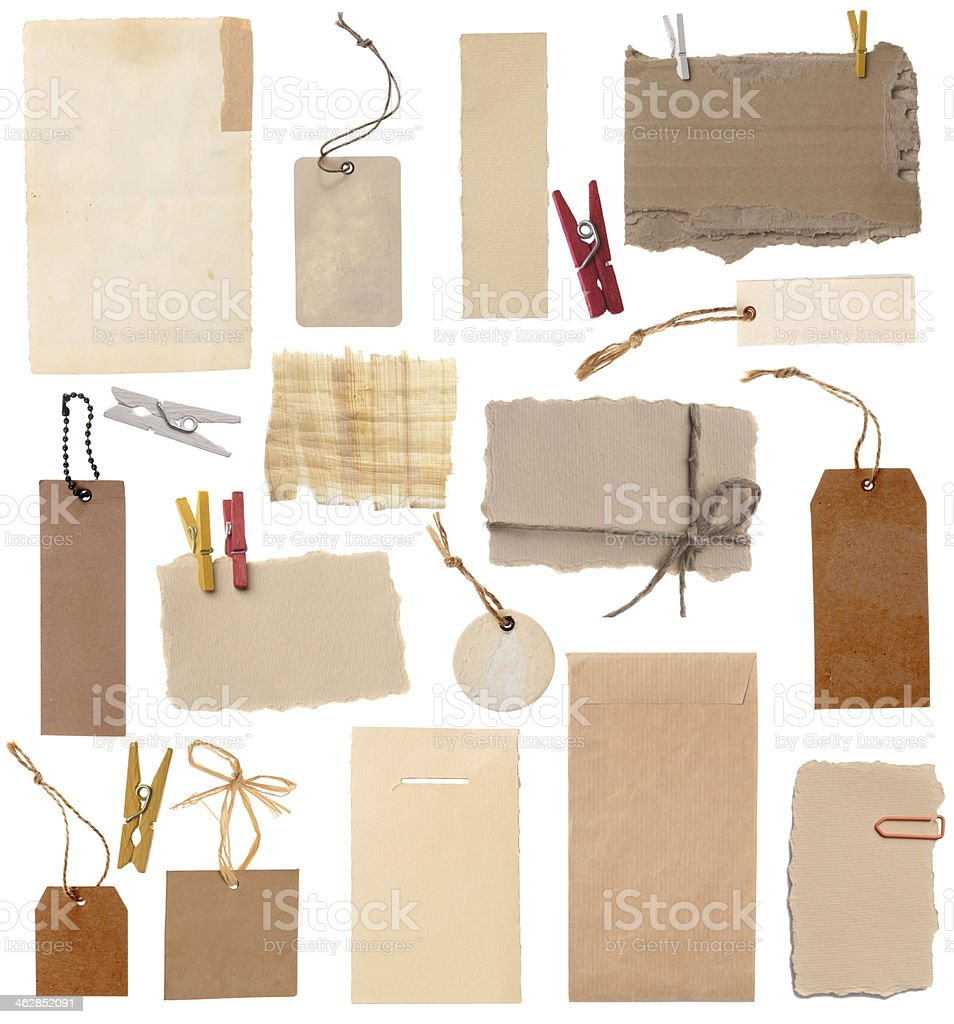 Blank cards, labels, price tags stock photo