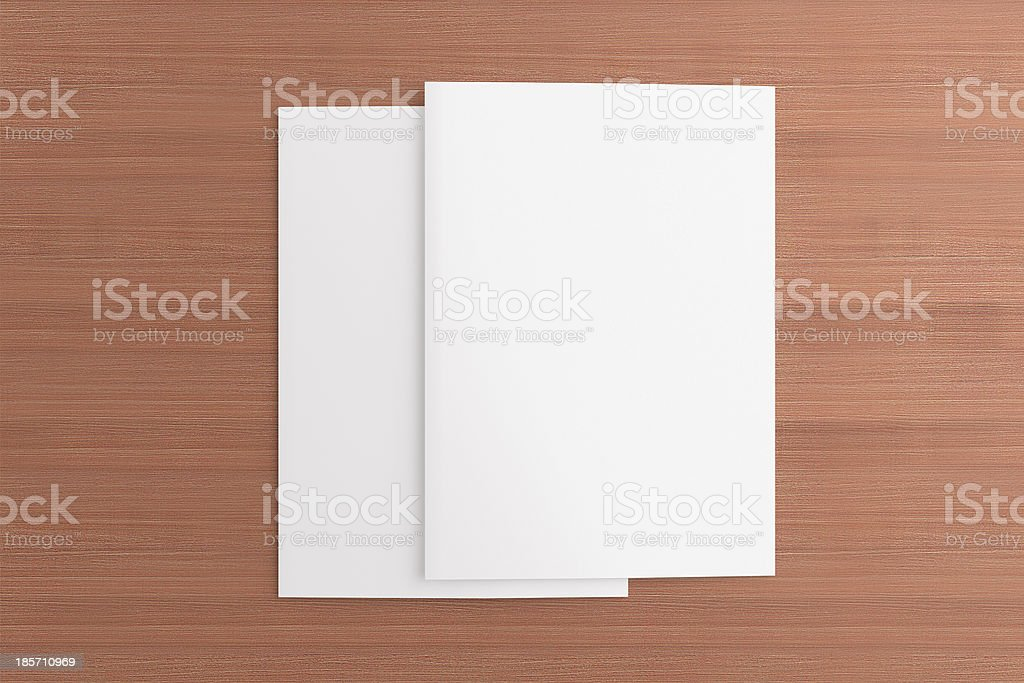 Blank cards on wooden background royalty-free stock photo