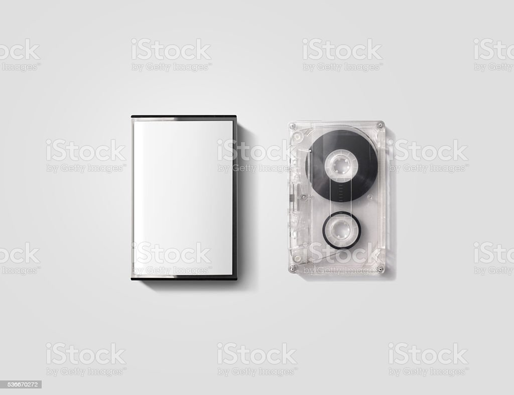 Blank cassette tape box design mockup, isolated, clipping path. stock photo