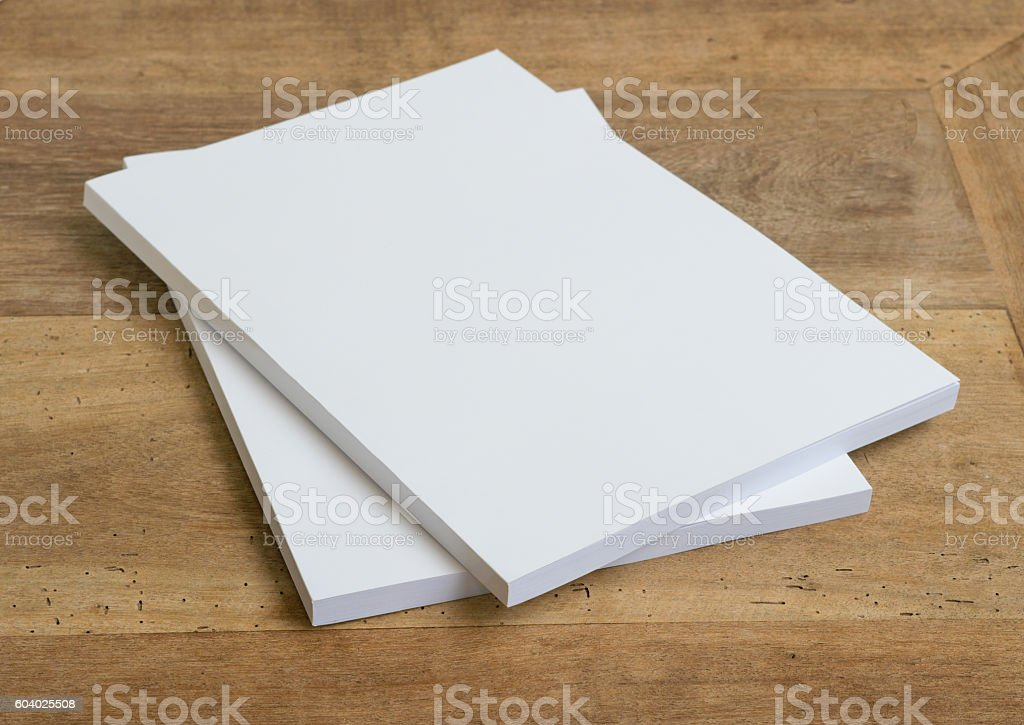 Blank catalog, magazines,book on wood background stock photo