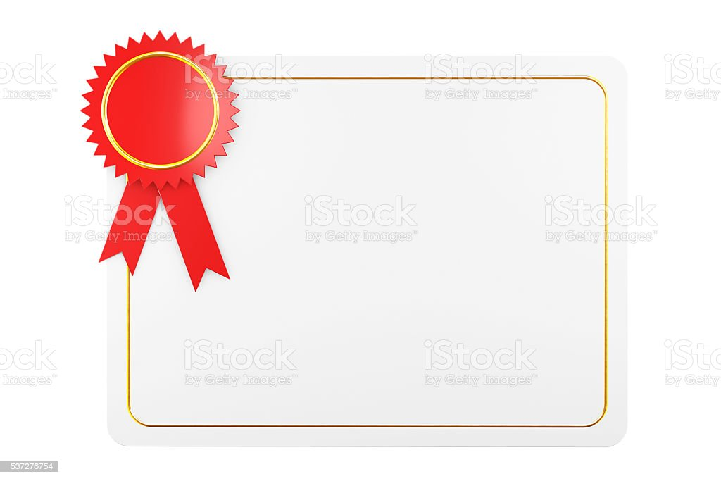 Blank Certificate Diploma Template. 3d Rendering stock photo