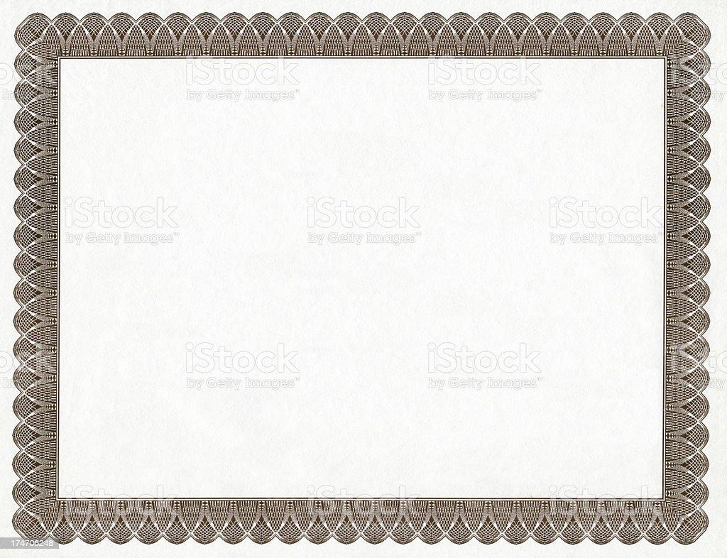 Blank Certificate Frame stock photo