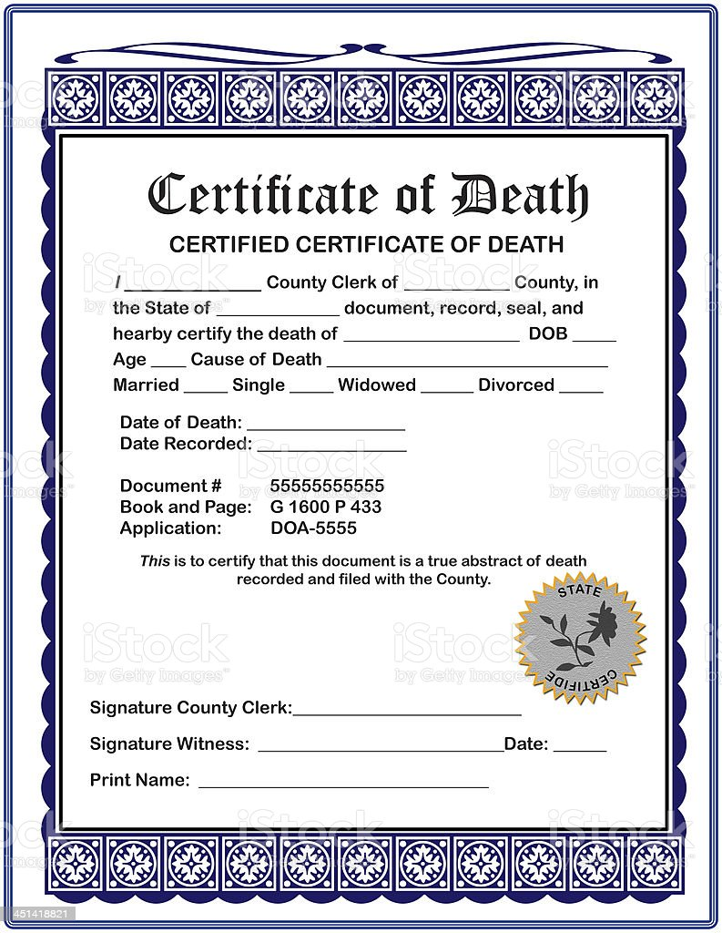 Blank Certificate of Death, fill in your information stock photo