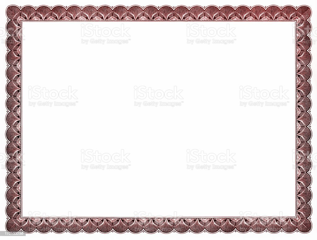 Blank certificate (red) royalty-free stock photo