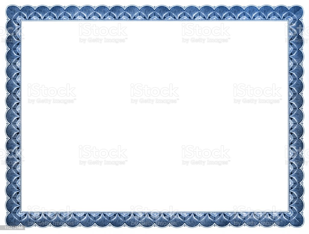 Blank Certificate (blue) stock photo