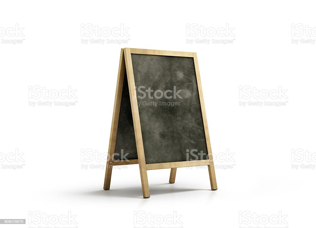 Blank chalk board street stand mockup, isolated stock photo