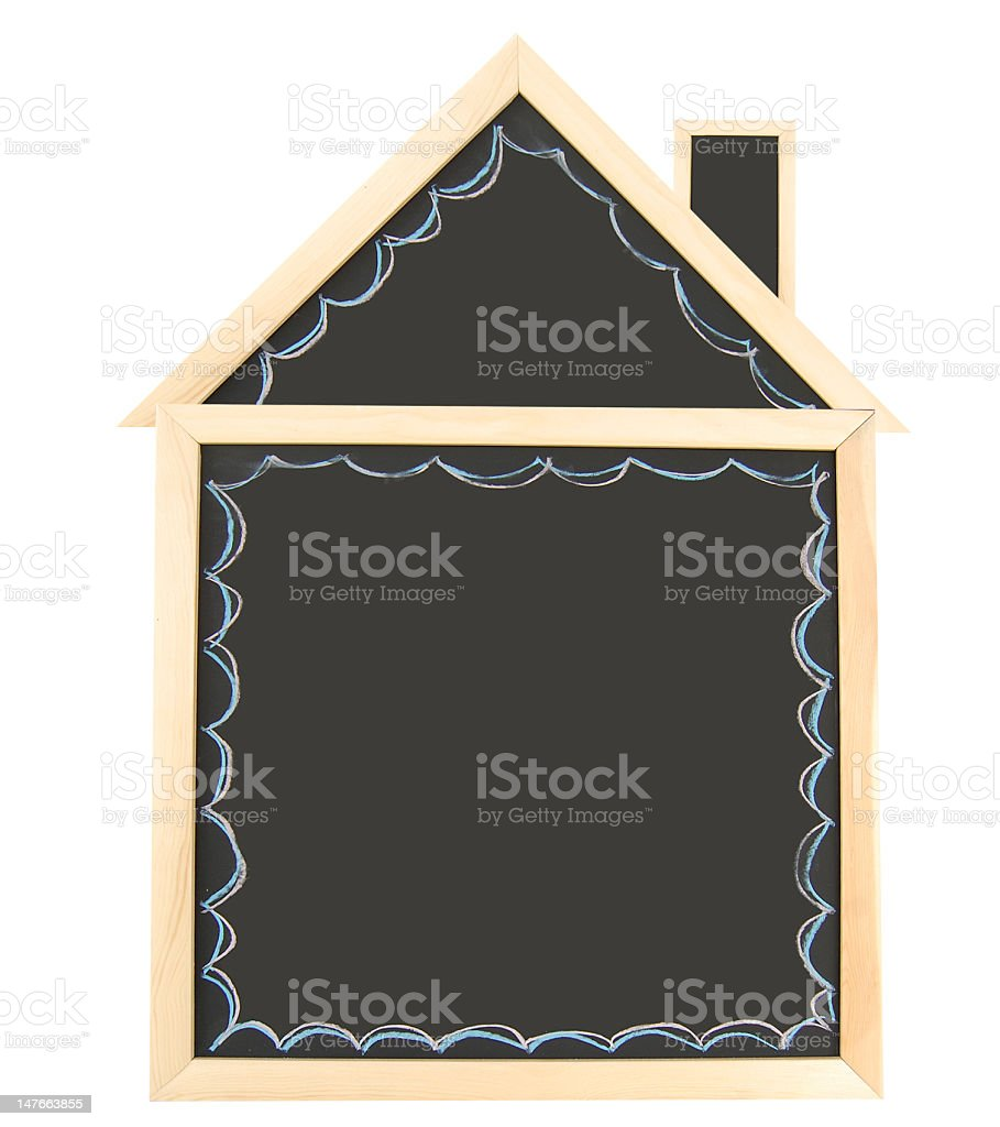 Blank Chalkboard House stock photo