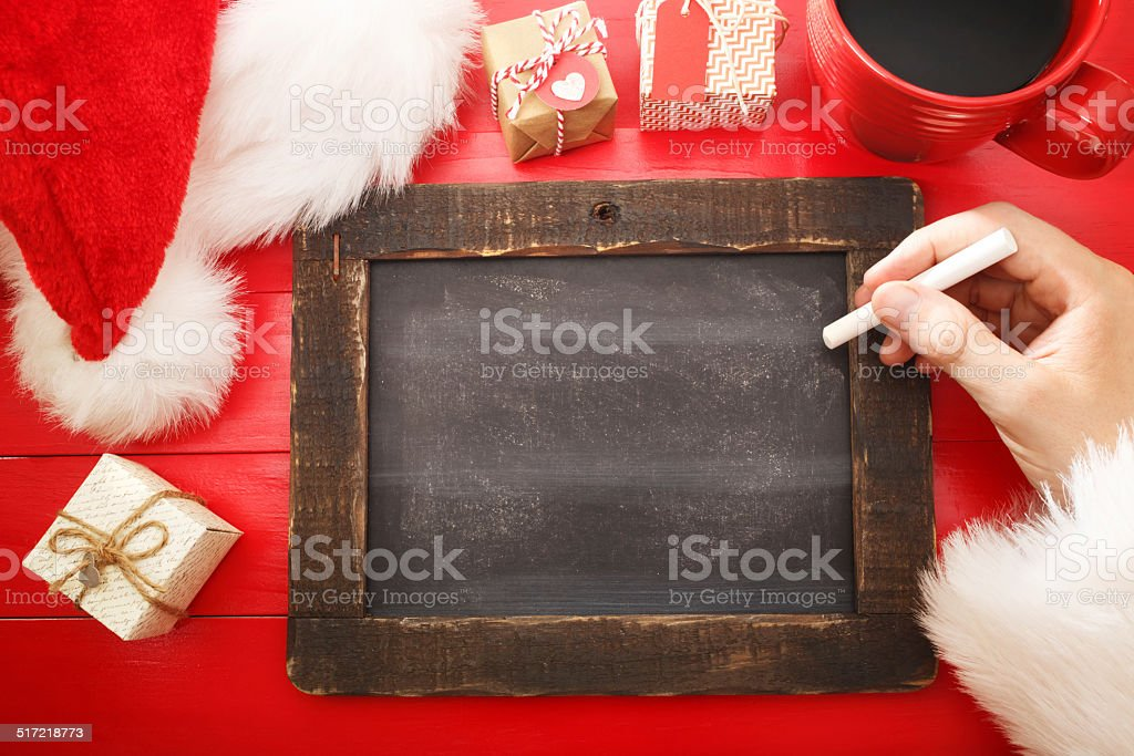 Blank chalkboard with Christmas wishlist ingredients stock photo