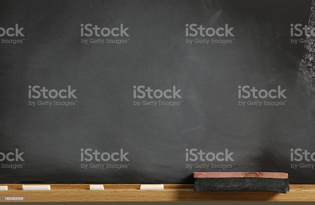 Blank Chalkboard with eraser and chalk stock photo
