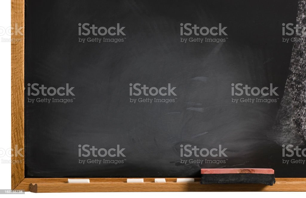 Blank Chalkboard with eraser and chalk royalty-free stock photo