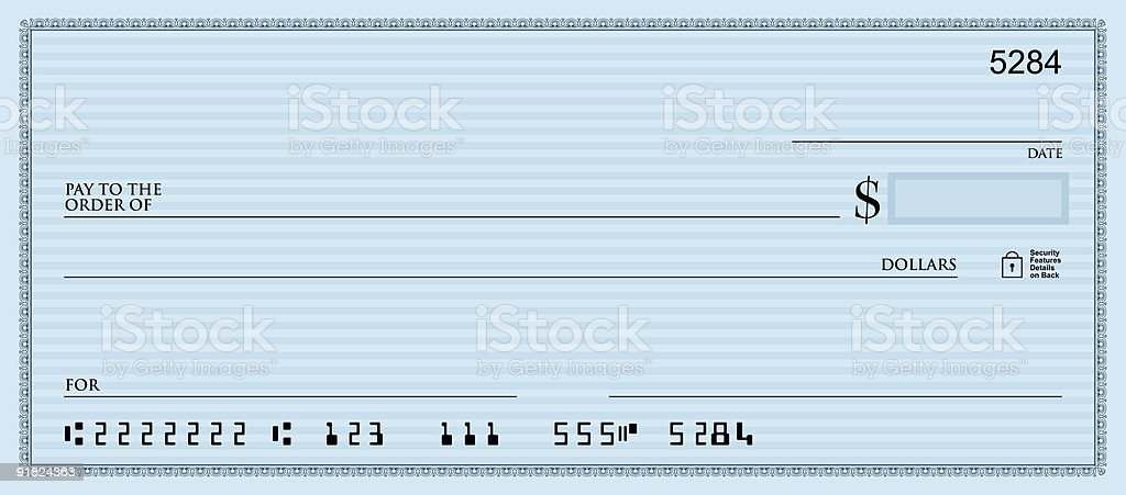 Blank Check Blue stock photo