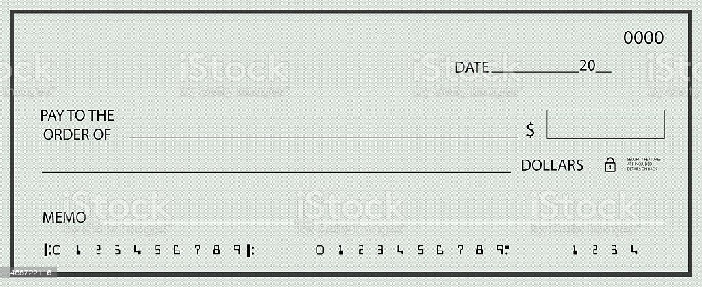 Blank check illustration stock photo