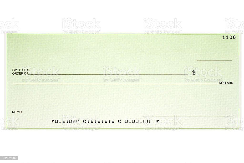 Blank check stock photo