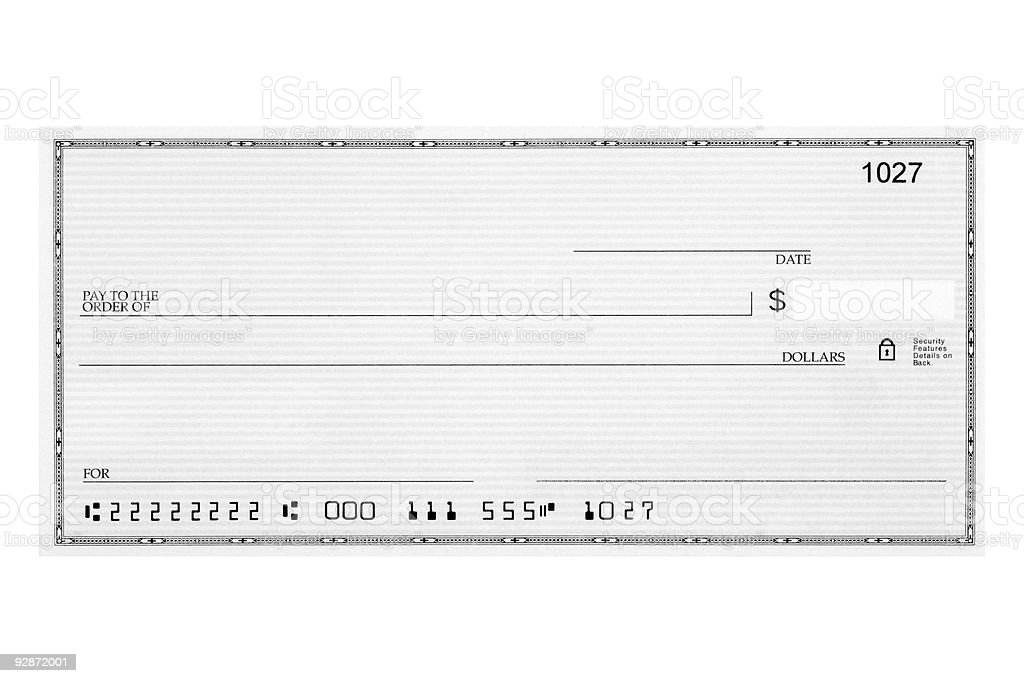 Blank check stock photo