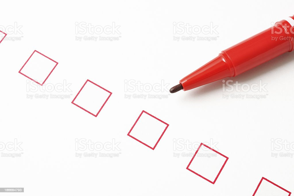 Blank checkbox with red felt pen royalty-free stock photo