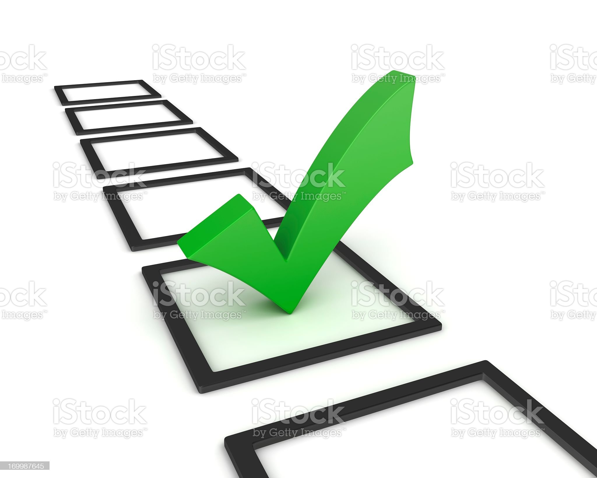 Blank checkboxes with a green 3D check mark on one of them royalty-free stock photo