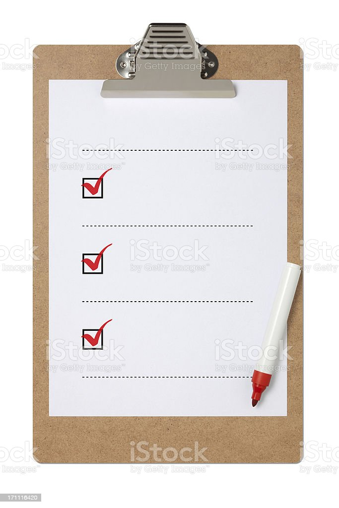 Blank checklist on clipboard with three red check marks royalty-free stock photo