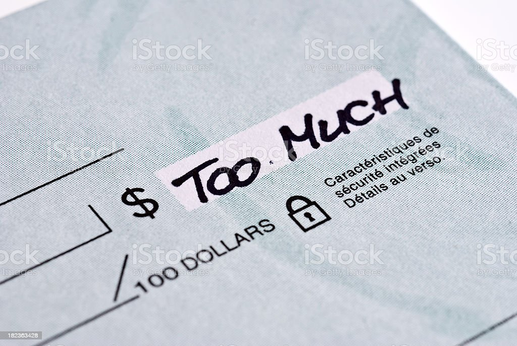 Blank check...too much royalty-free stock photo