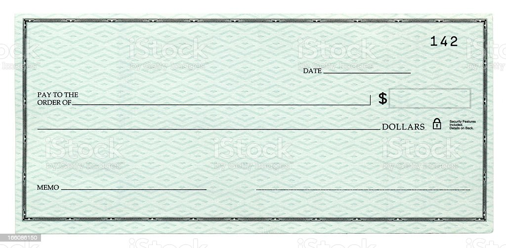 Blank Cheque stock photo