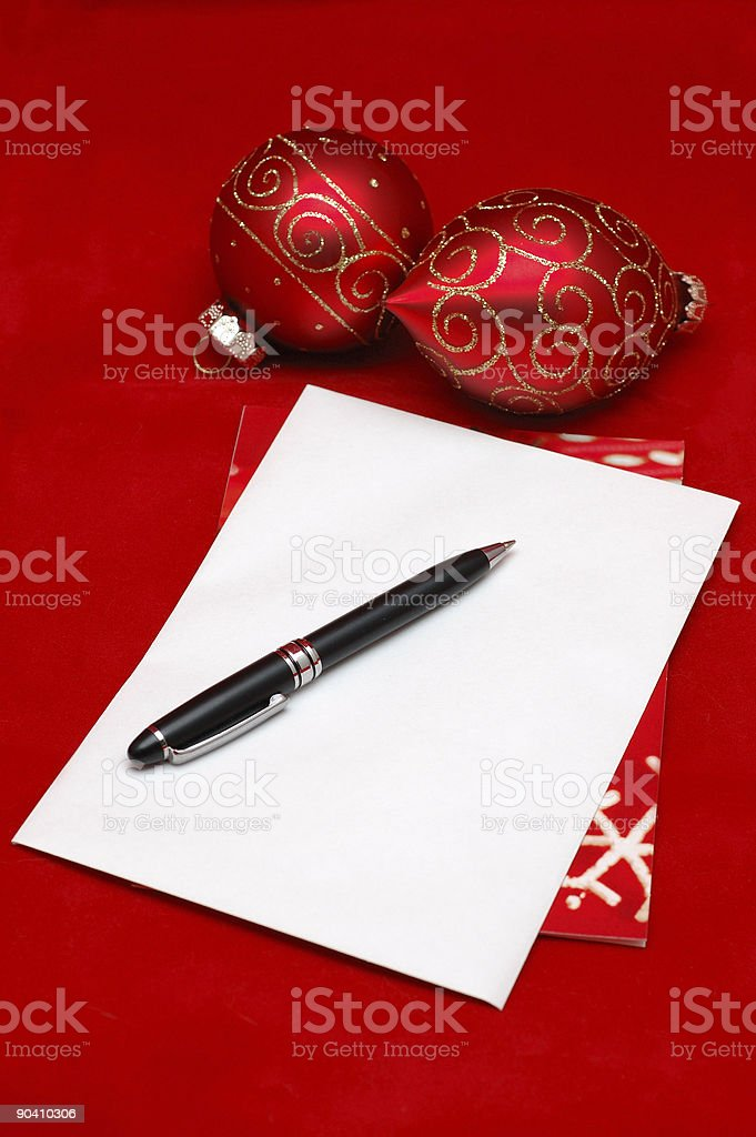 Blank christmas card envelope royalty-free stock photo