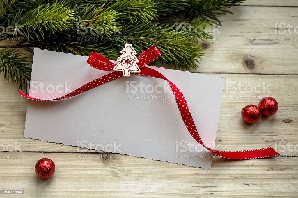 Blank Christmas letter with decoration stock photo