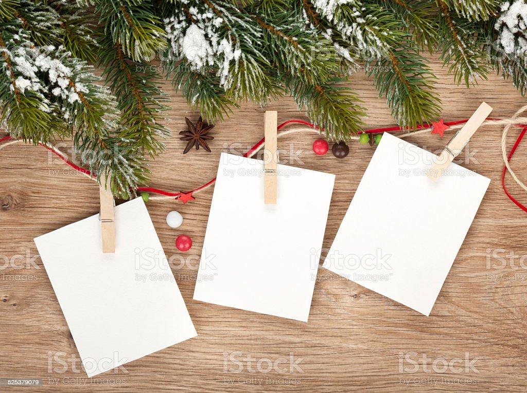 Blank christmas photo frames stock photo