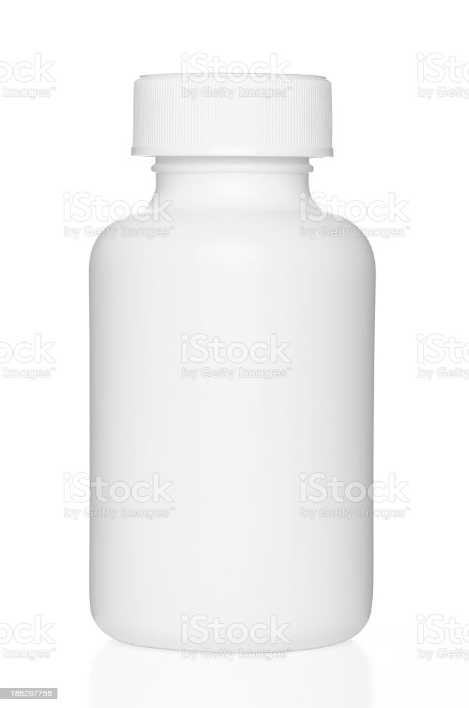 Blank chunky medicine bottle with clipping path stock photo