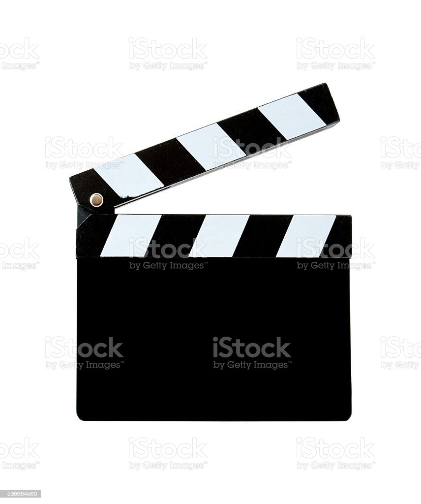 Blank clapper board (Clipping Path!) isolated on white background stock photo
