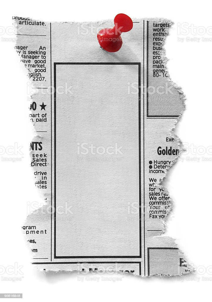 Blank classified newspaper advertisement and pin template stock photo