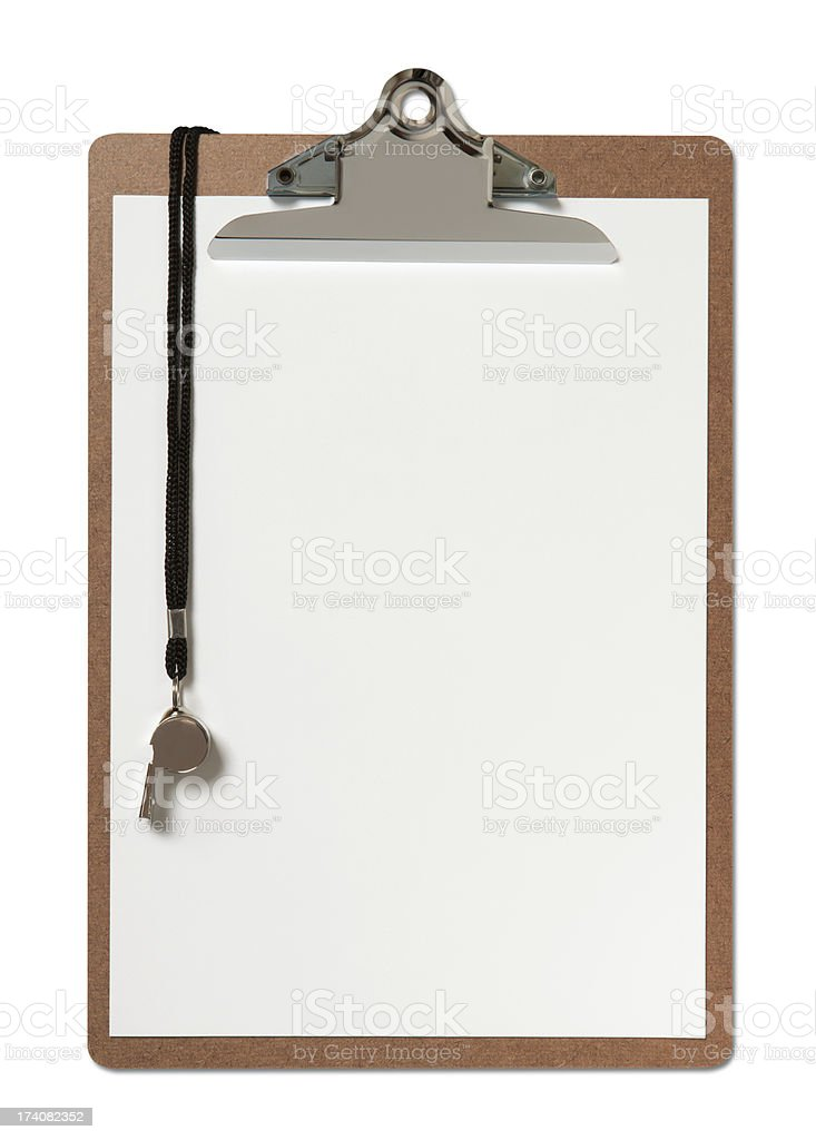 Blank Clipboard and Whistle stock photo