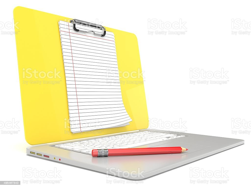 Blank clipboard lined paper on laptop. Side view. 3D render stock photo