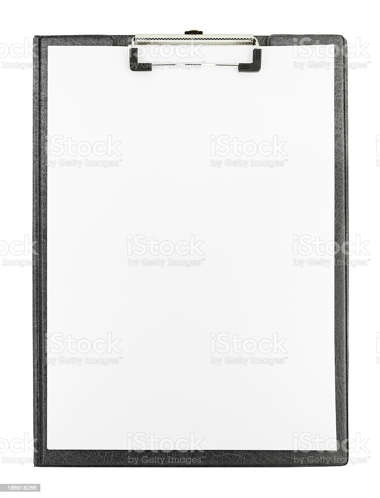 A blank clipboard on a white background stock photo