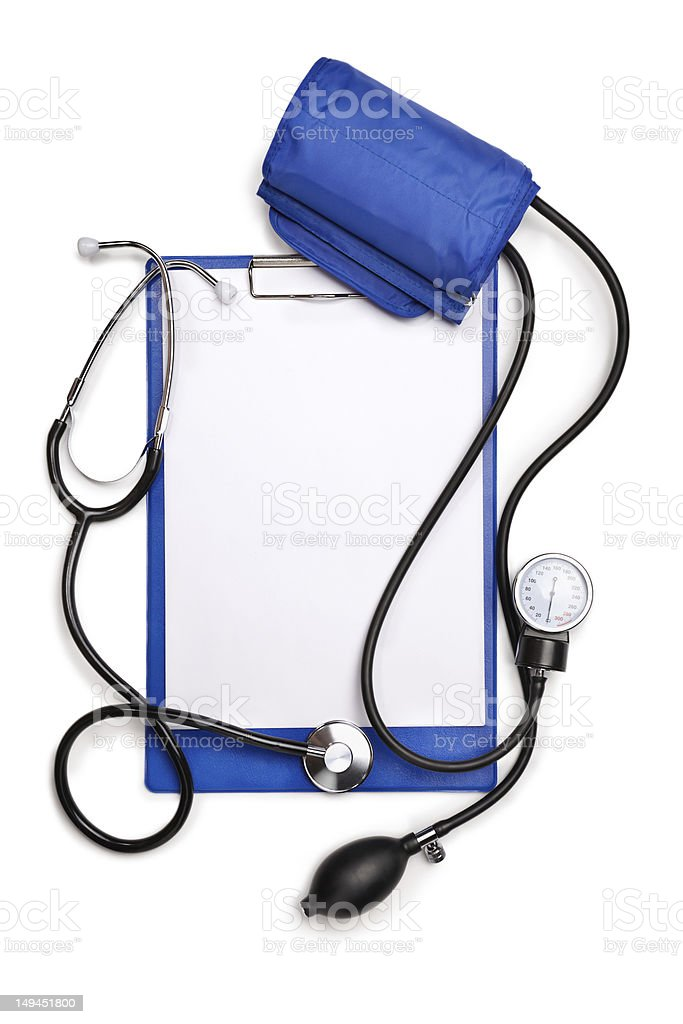 Blank clipboard with stethoscope and tonometer royalty-free stock photo