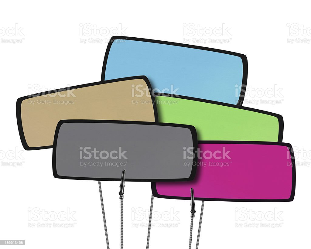 Blank Colorful Tag in Wire Clamp (Clipping Path) royalty-free stock photo