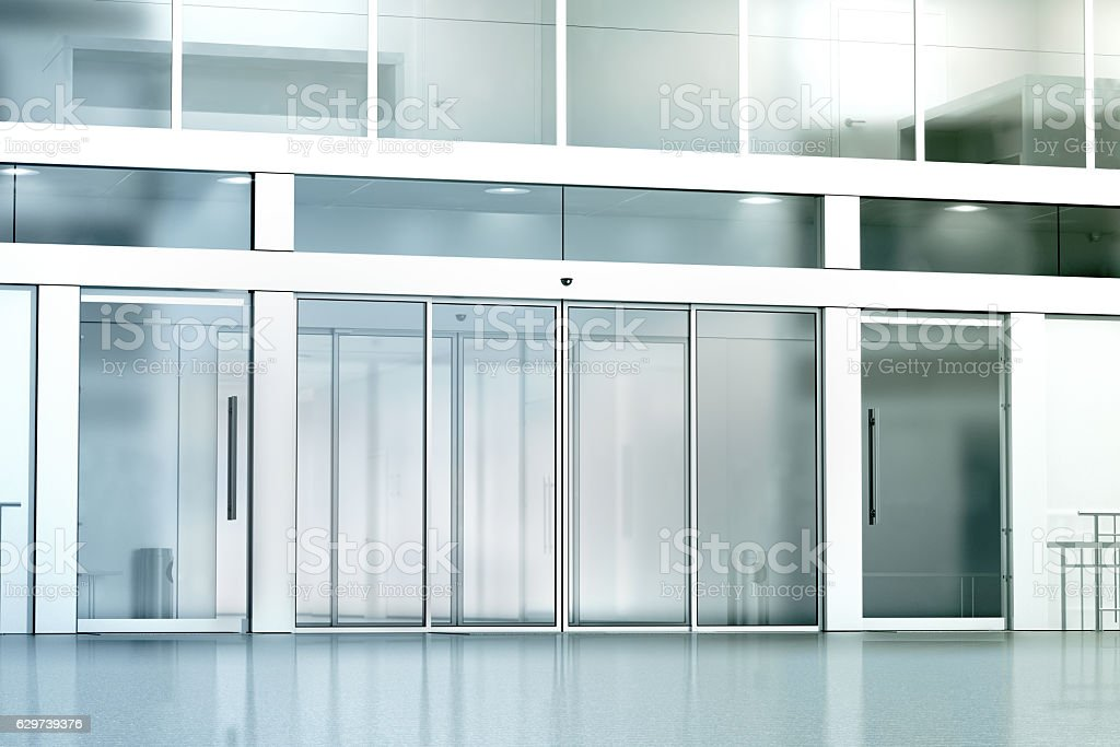 Blank commercial building glass entrance mockup stock photo
