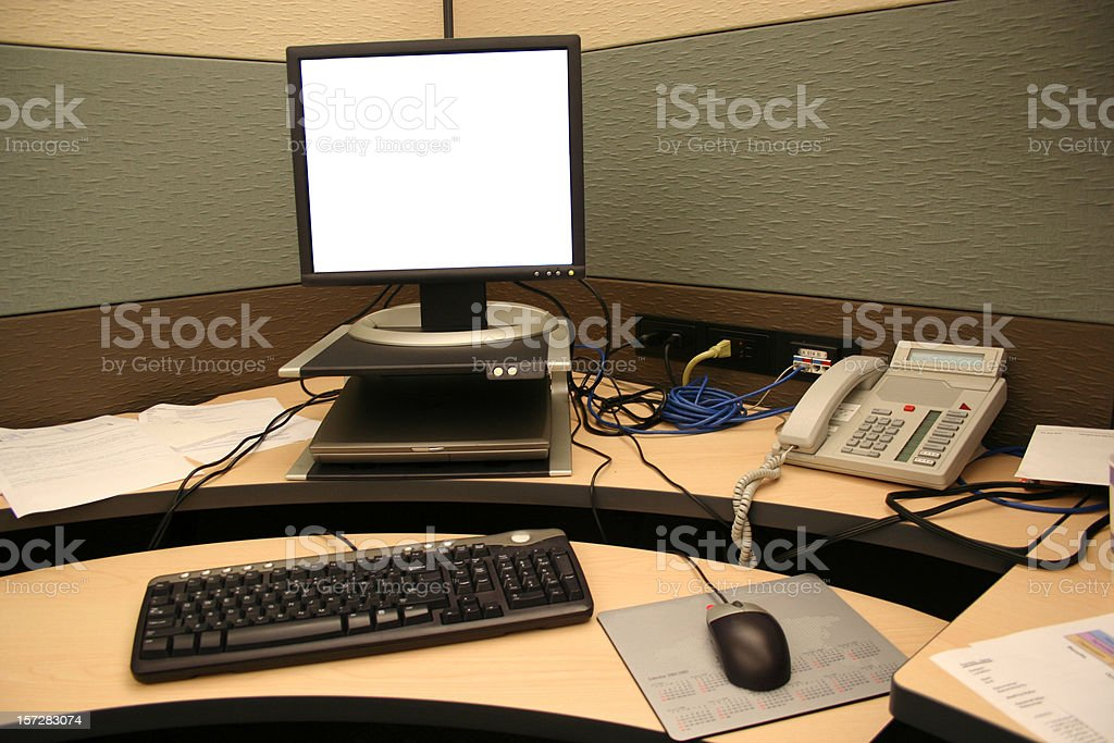 Blank Computer in a Cubicle stock photo