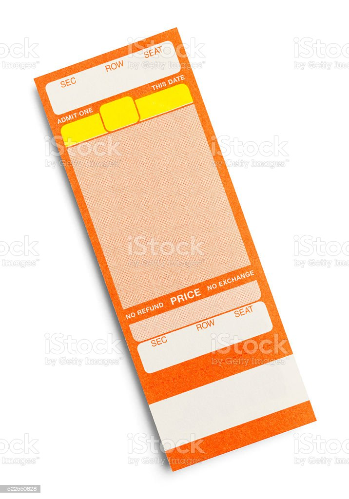 Blank Concert Ticket stock photo
