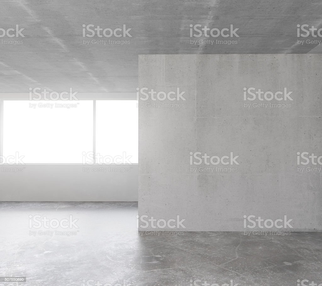 Blank concrete wall in the interior with copyspace stock photo