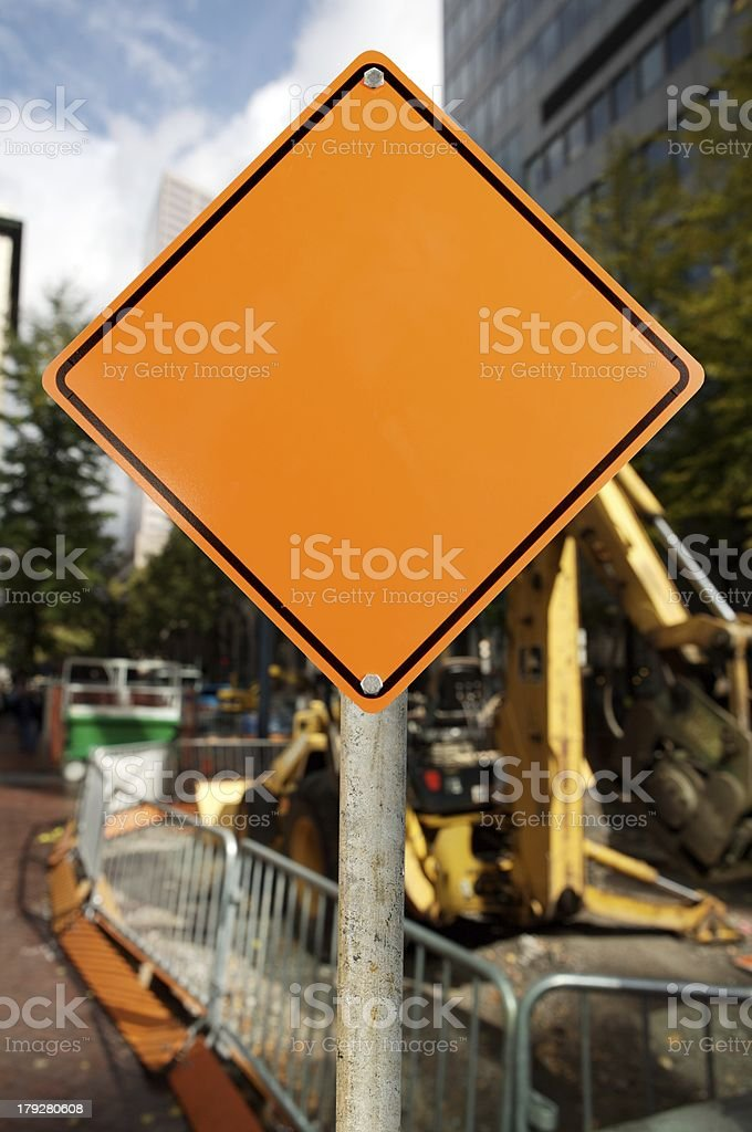 blank construction sign stock photo