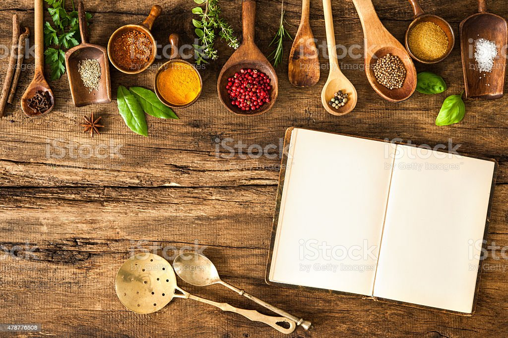 Blank cookbook and spices stock photo