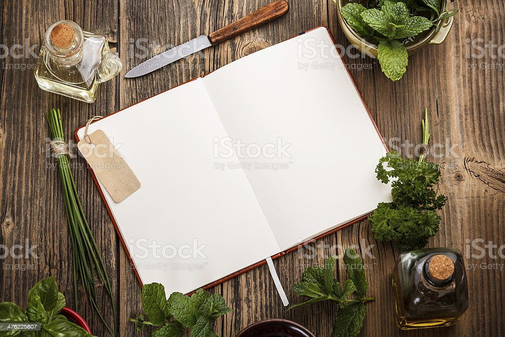 Blank cookbook royalty-free stock photo