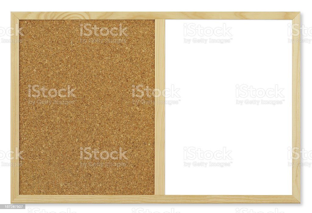 Blank Cork&White board (clipping path), isolated on white background royalty-free stock photo