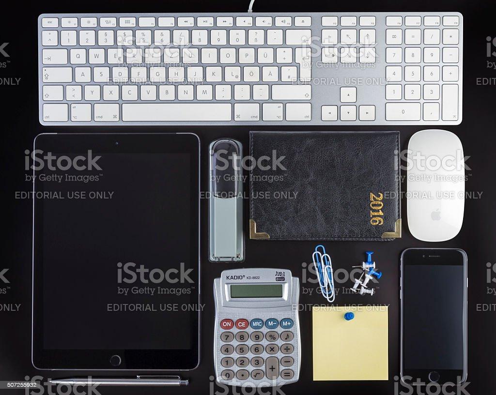Blank Corporate ID Set on black background stock photo