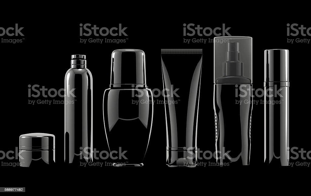 Blank cosmetic Packages on black background stock photo