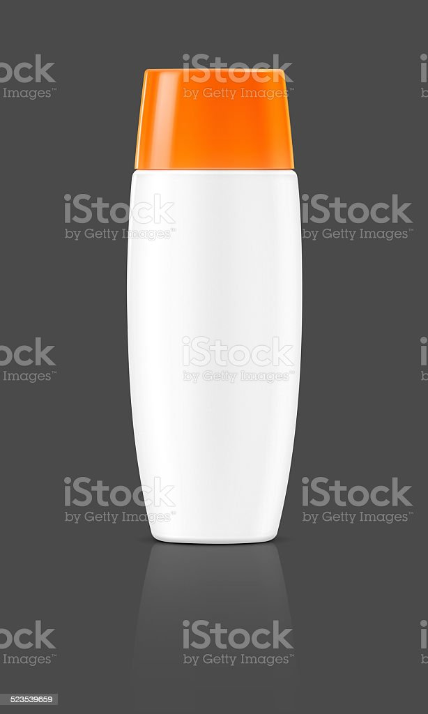 blank cosmetic tube isolated on gray background stock photo